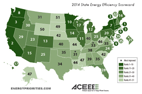 Best and worst states for energy efficiency map